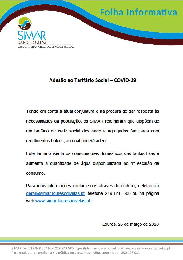 SIMAR_Adesão Tarifário Social_COVID-19